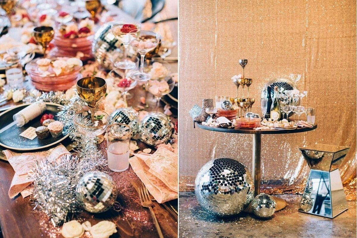 Disco party theme with New Years Eve Decorations