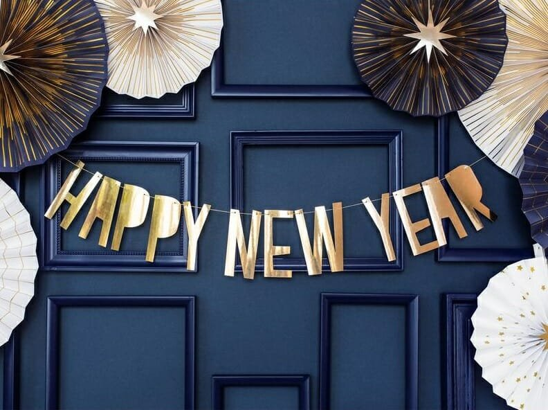 Happy New Year banner as new years door decorations