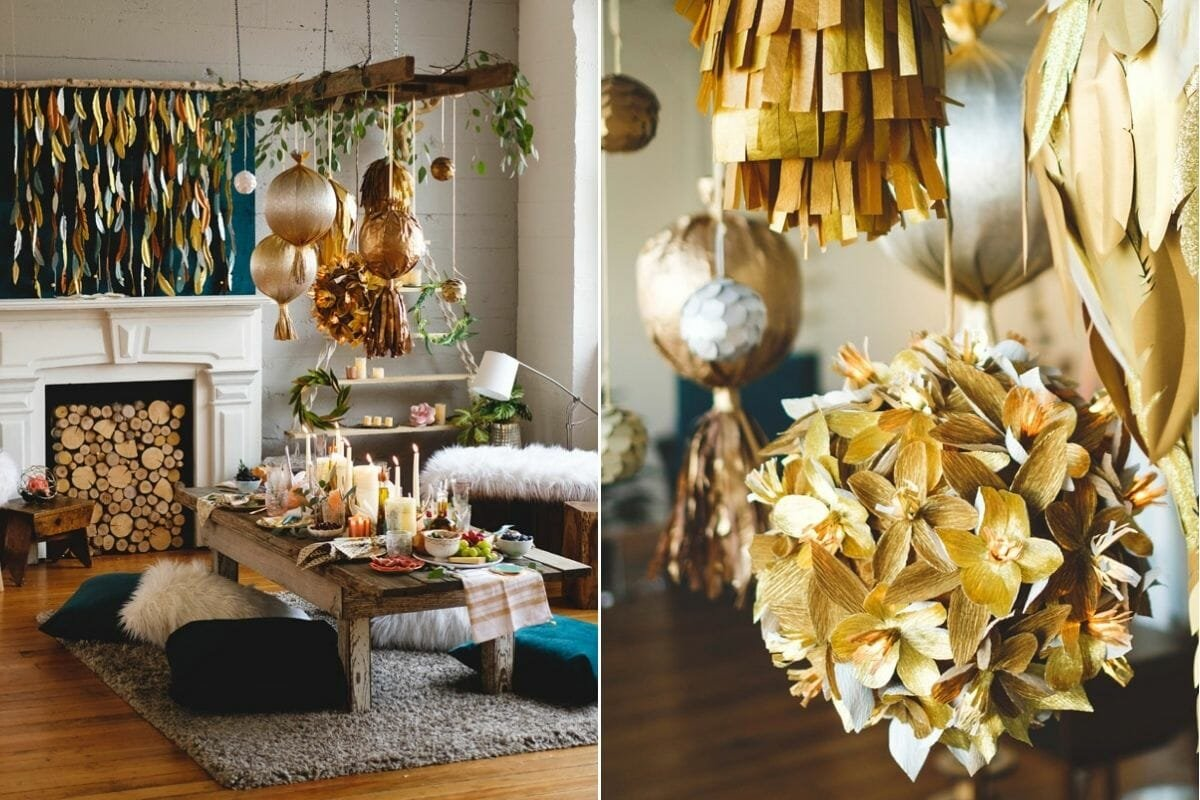 New Years Eve dinner table ideas boho NYE decorations