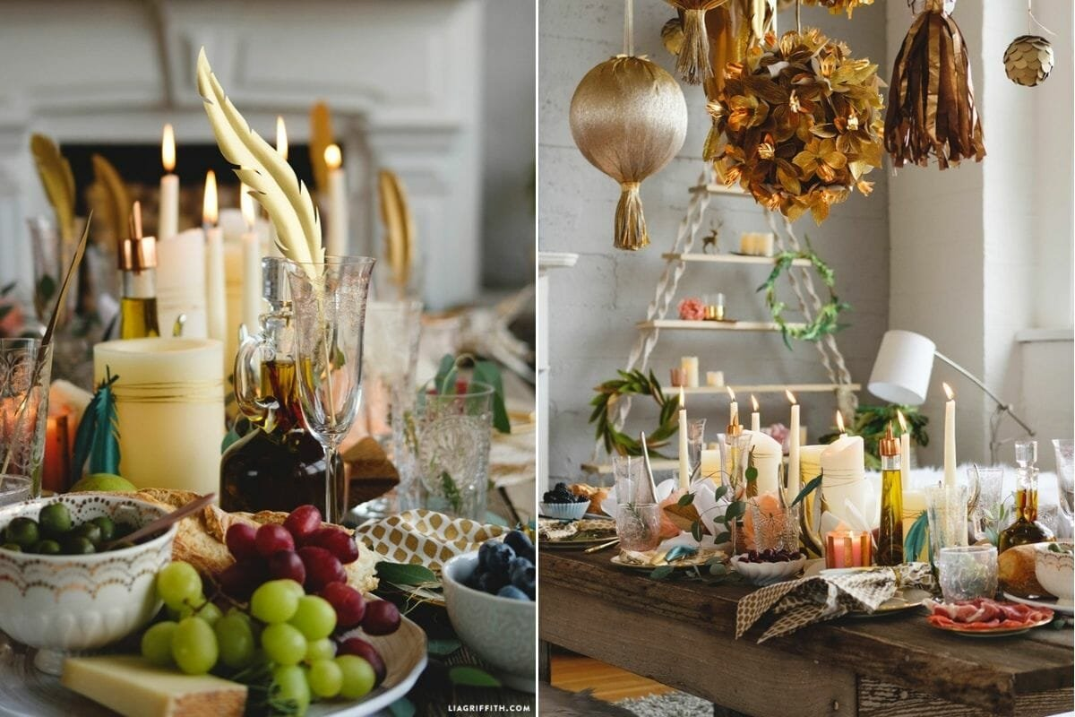 New Years Eve dinner table ideas for a bohemian casual party theme