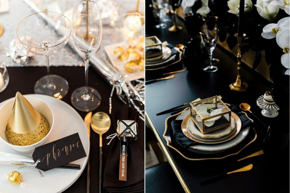 New Year's dinner table ideas for a formal black and gold table