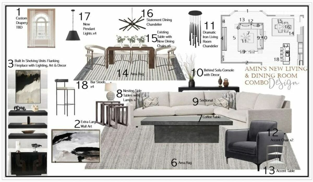 Online interior design moodboard by Decorilla interior designer Berkeley H