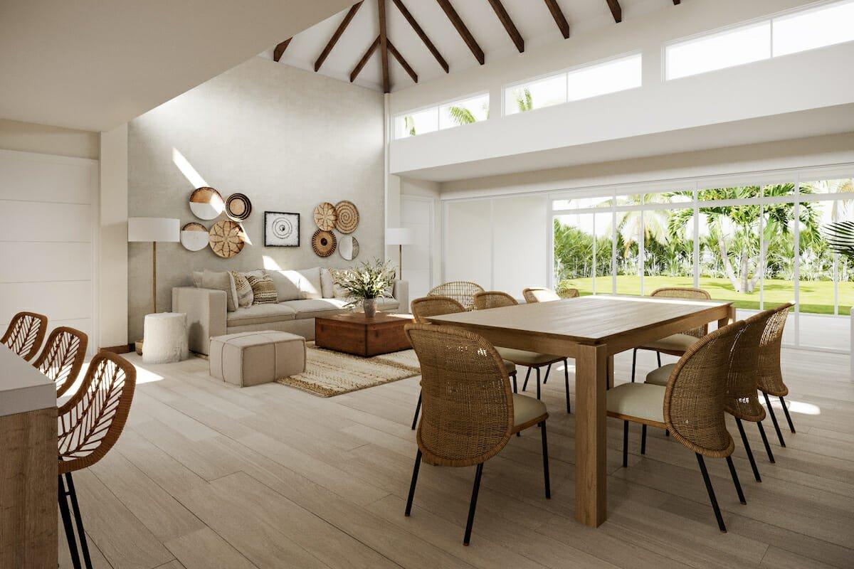 Open living space featuring light wood 2021 interior design trend by Decorilla interior designer, Wanda P.