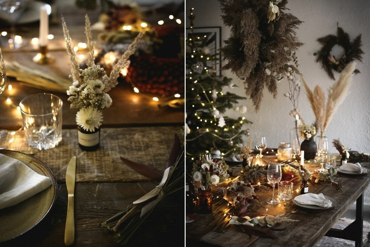 Romantic Christmas table with fairy lights and Christmas decorating ideas