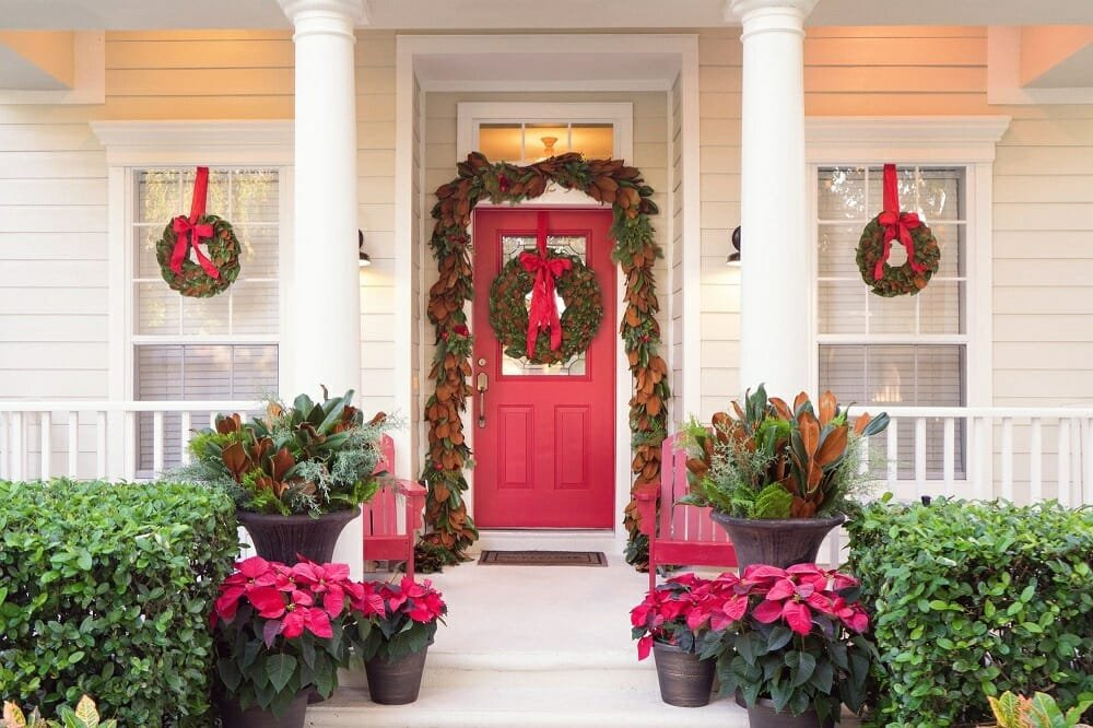 Stately red Christmas door decorations