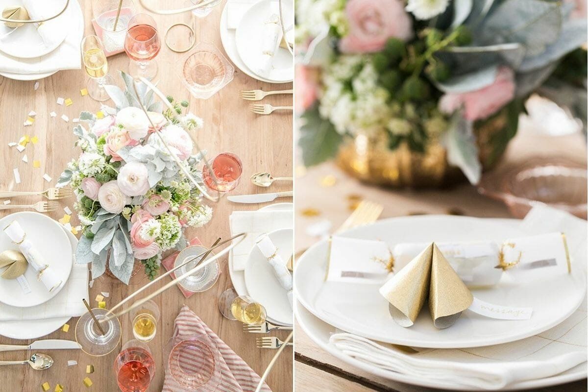 decorate for New Year's Eve with fortune cookies and pink flowers
