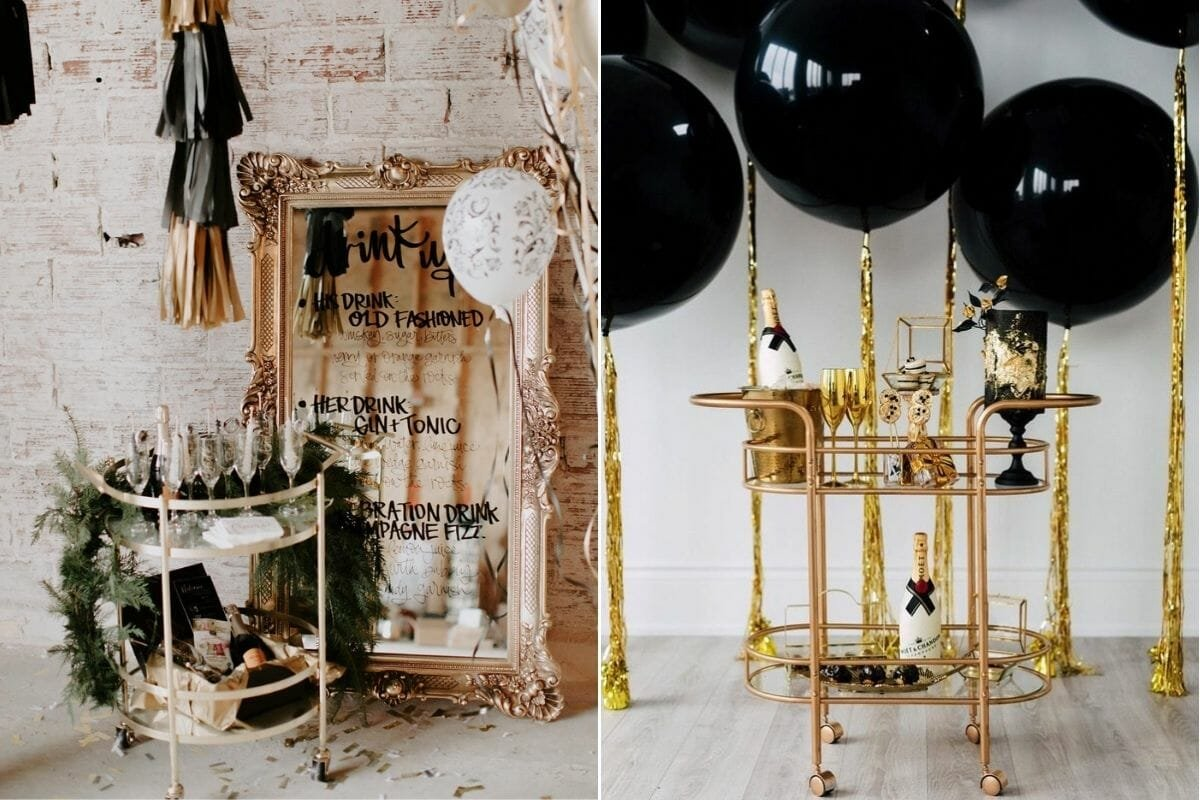 gold and bronze bar carts with NYE decoration