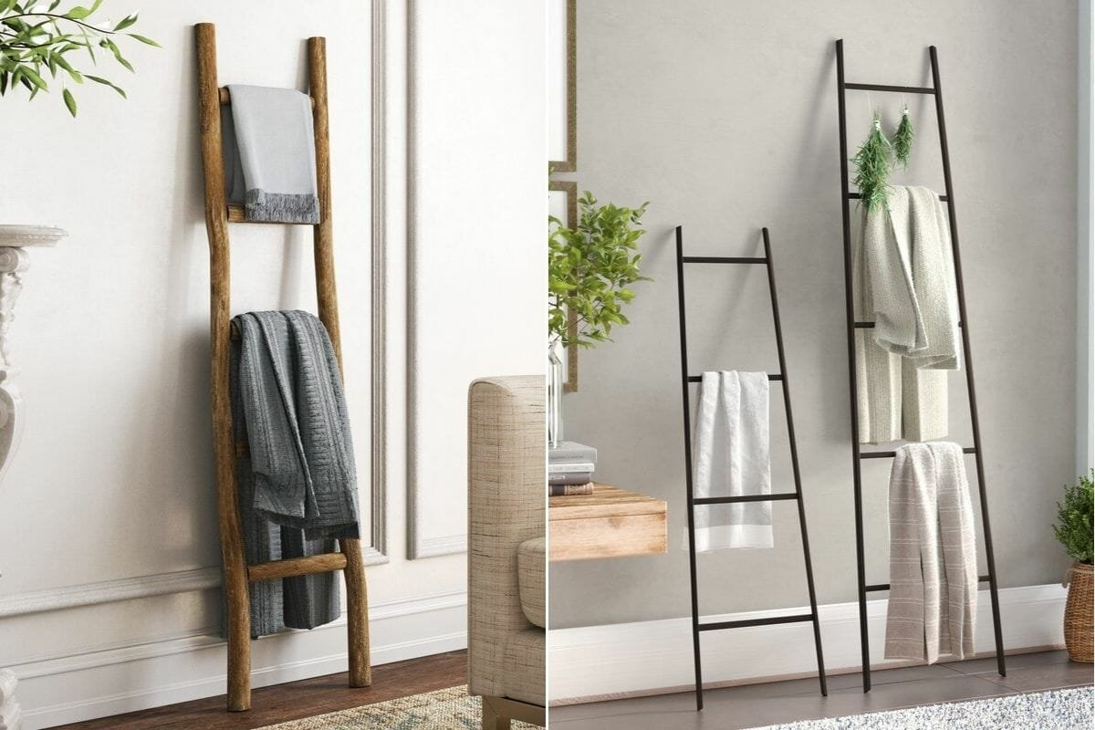rustic wood and sleek metal blanket ladders interior design gift ideas
