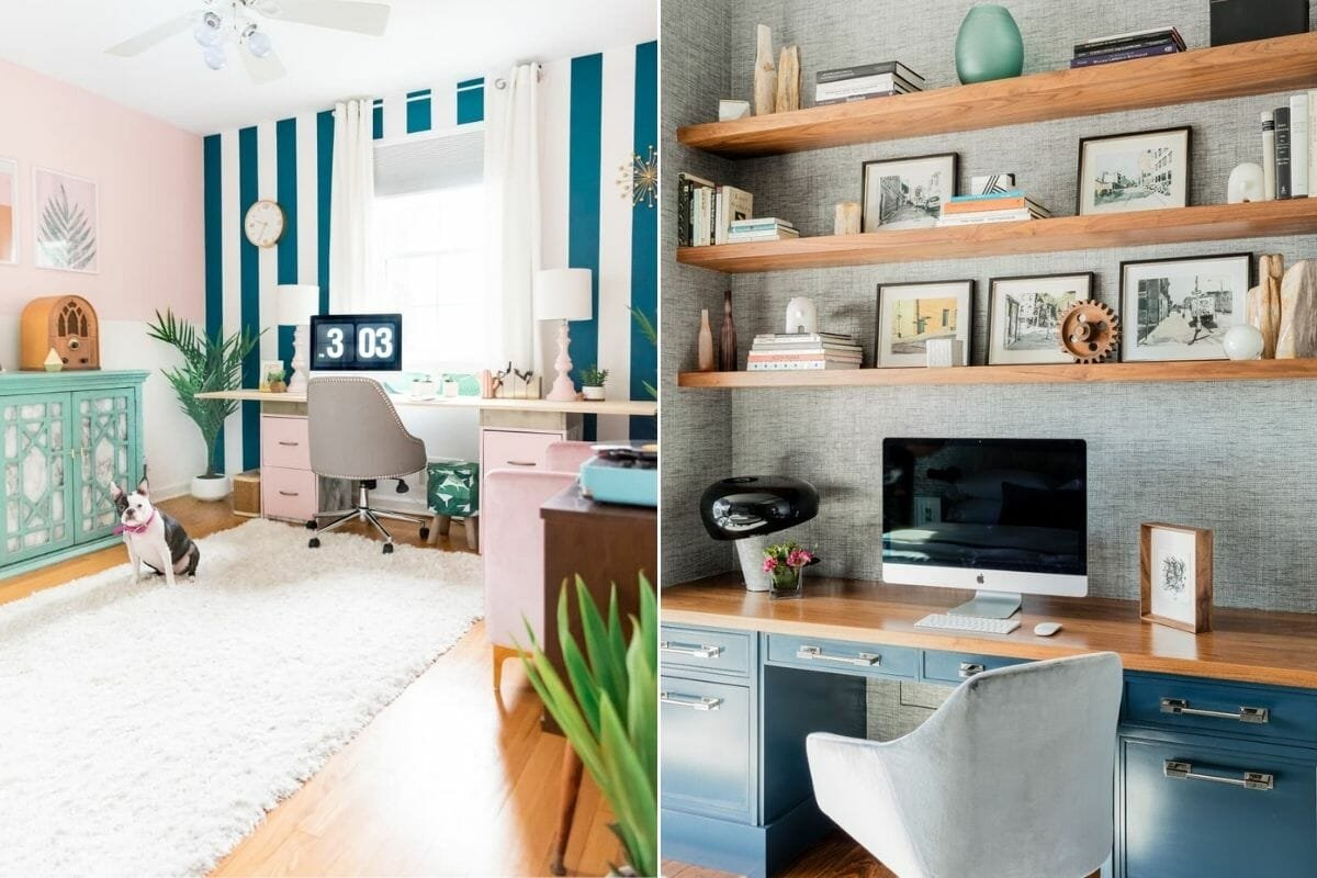 Accents of blue in home offices created with home office allowances