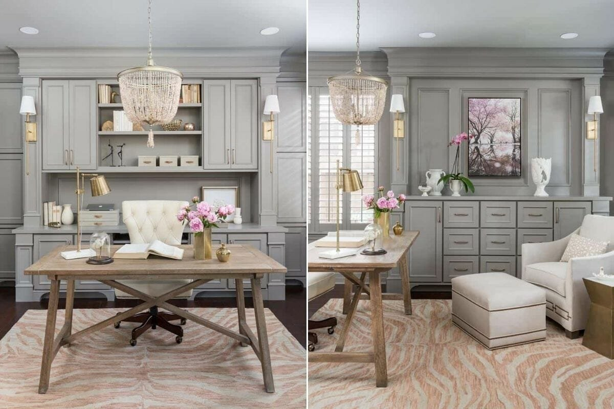 Beautiful and productive home office with a chandelier and transitional home office furniture