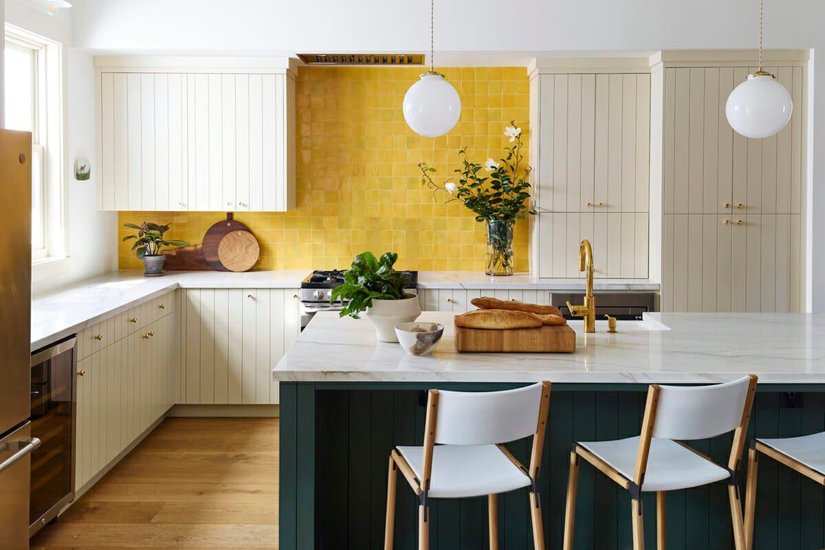 Bold and bright 2021 Pantone color of the year kitchen backsplash