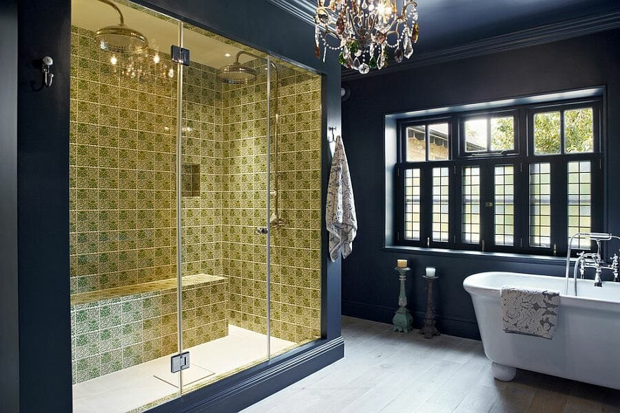 Classy use of yellow color of the year in shower tiles
