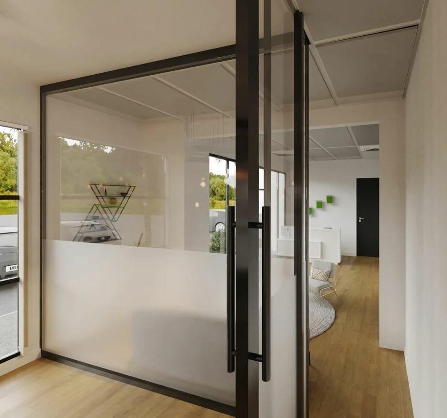 Contemporary glass door for a Scandinavian office interior design