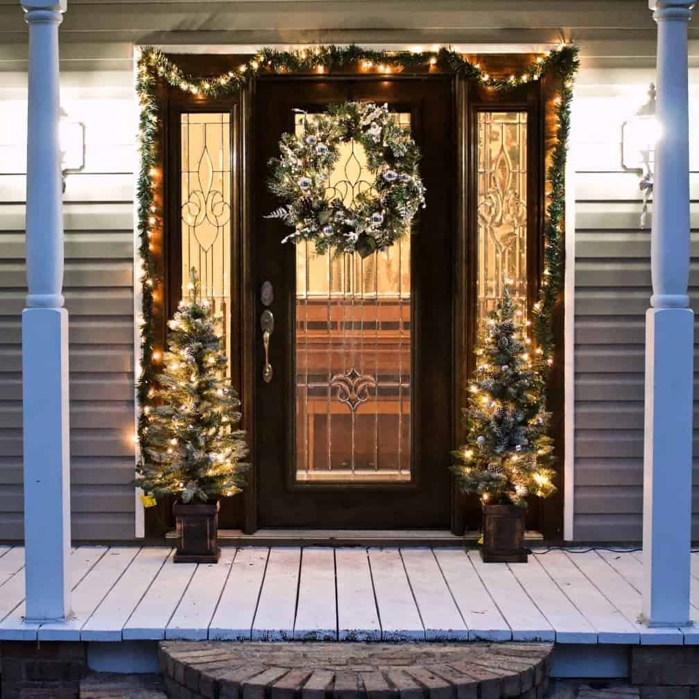 Enchanting lighted winter door decorations