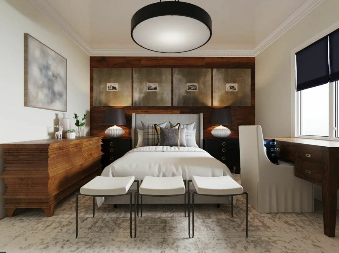 Guest room makeover into a classy transitional bedroom with a classic desk