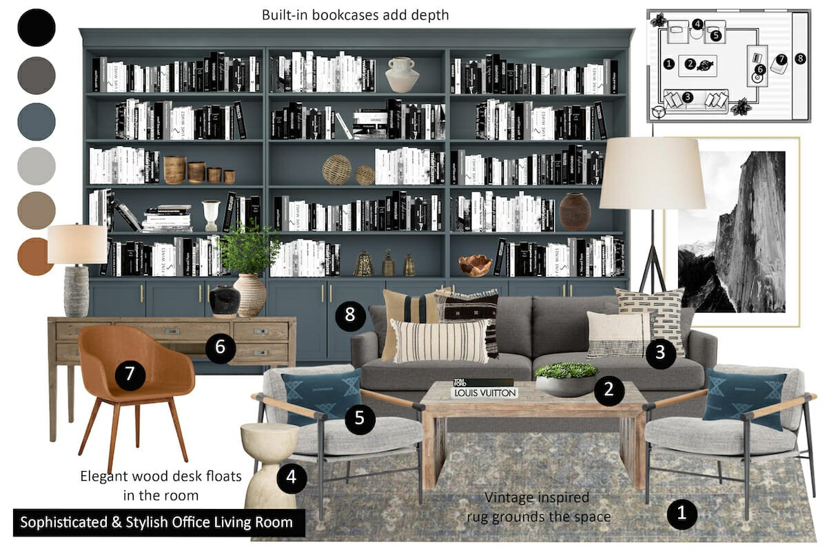 Home office stipend design package moodboard
