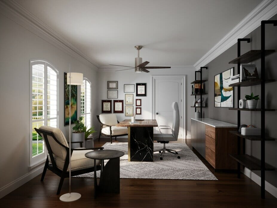 Home office with color of the year feature wall by Decorilla designer, Wanda P.