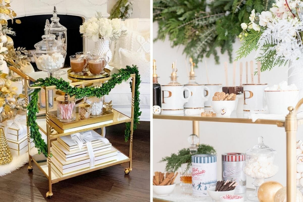 Hot cocoa bar cart winter decor