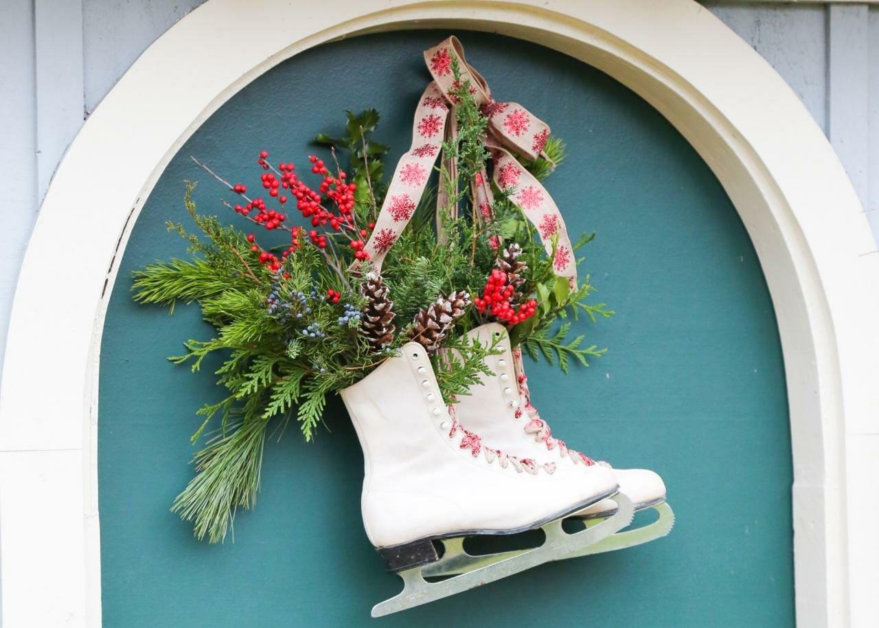 Ice skates as a unique winter wreath idea