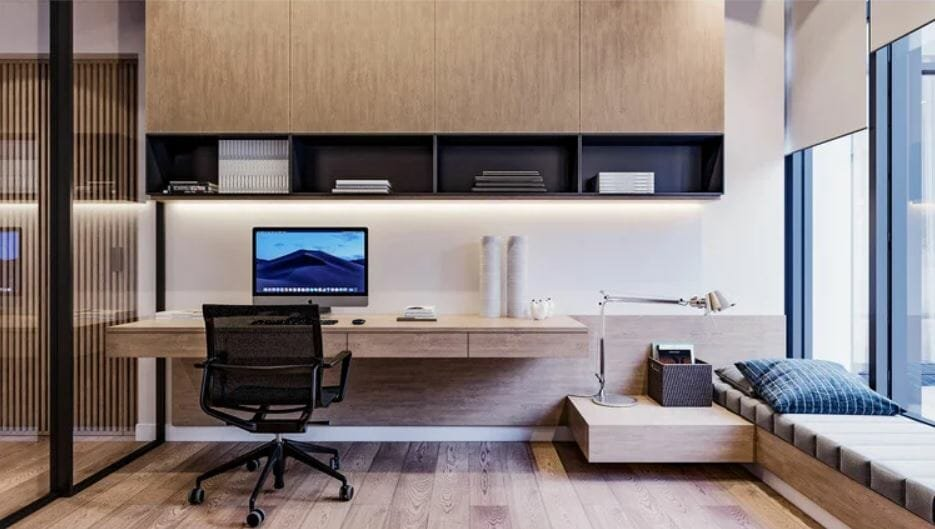 Large modular home office furniture as part of home office stipends - Mladen