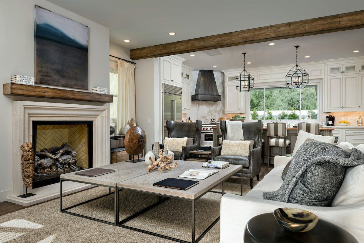 Living room winter decor idea - fireplace seating