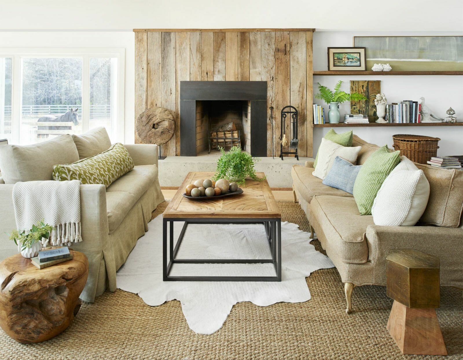 Natural living room winter decor