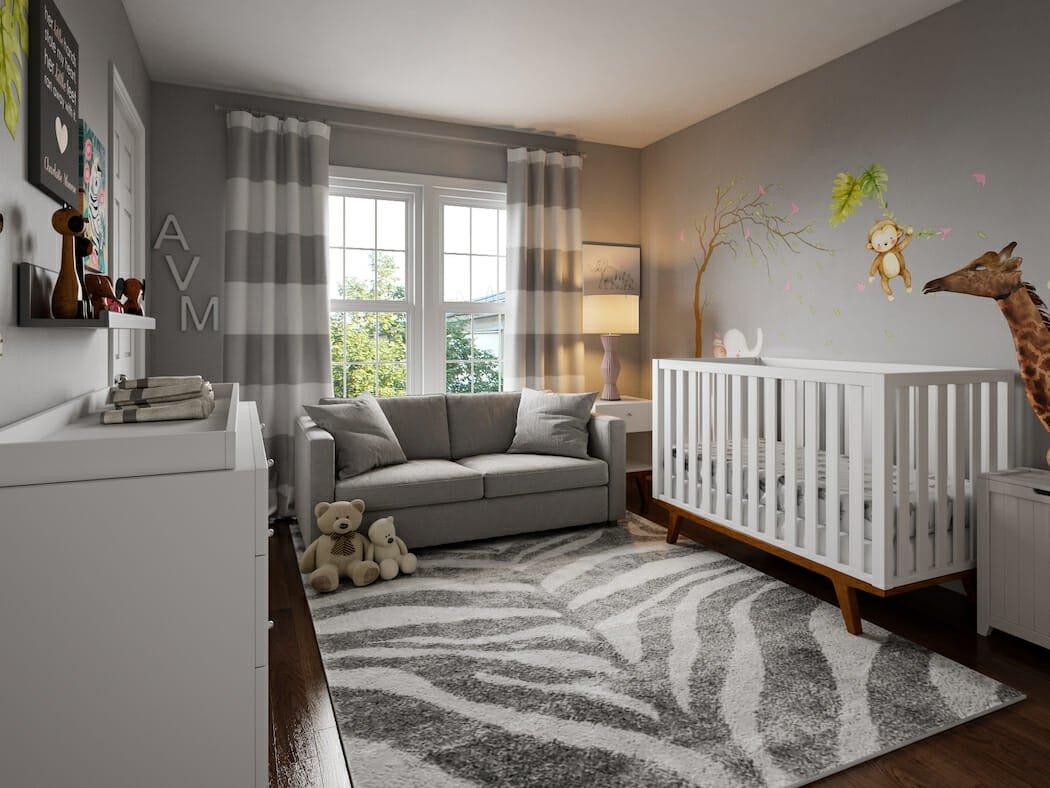 Neutral nursery in Pantone color of the year, ulitmate gray