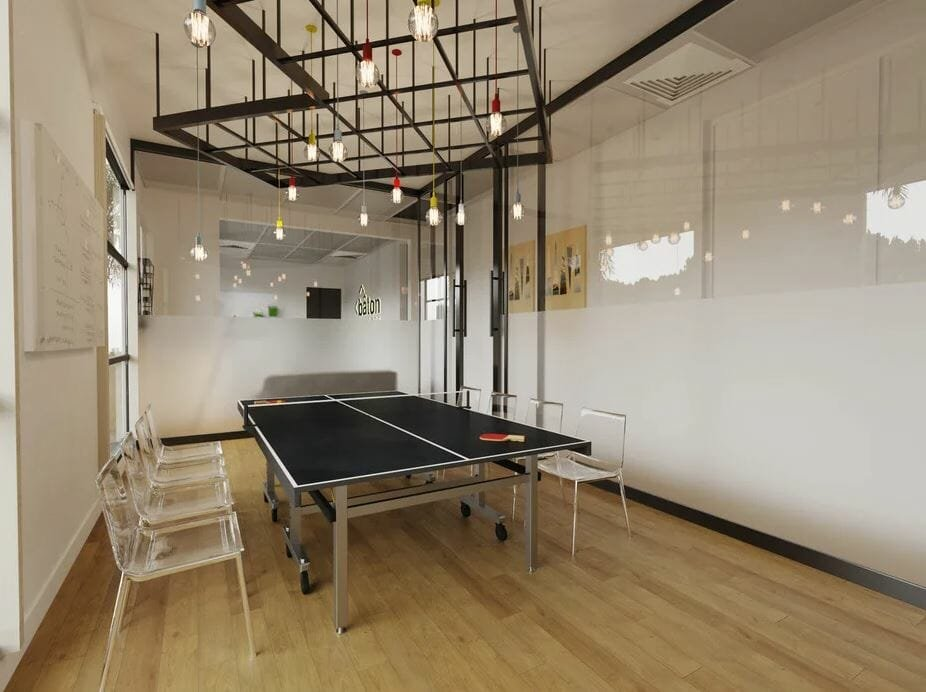 Online office design for a fun conference room with a ping pong table