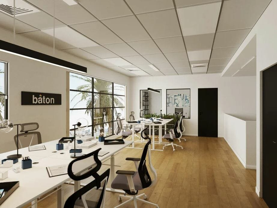 Online office design for an open plan workspace