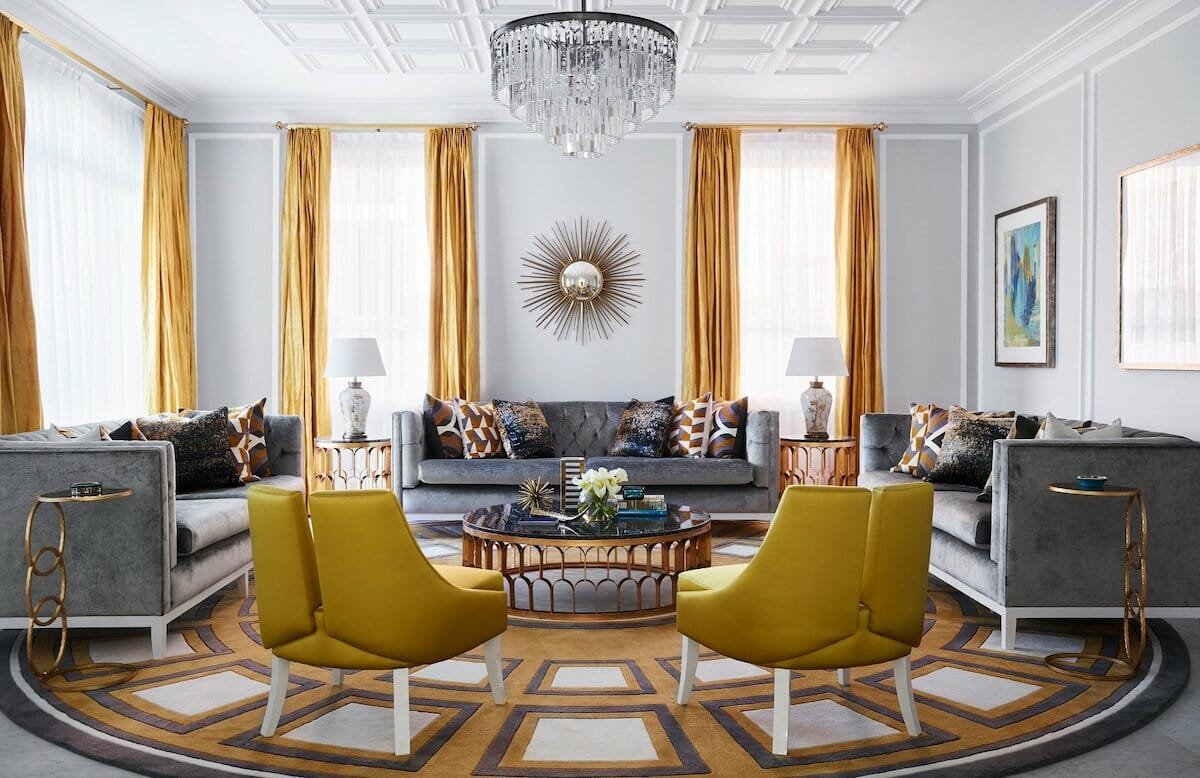 Pantone color of the year 2021 illuminating used in luxury living room