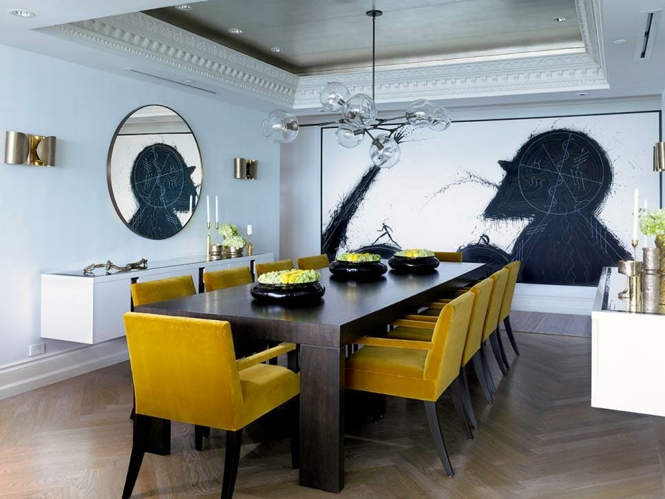 Pantone color of the year 2021 in bold chairs for a contemporary dining room