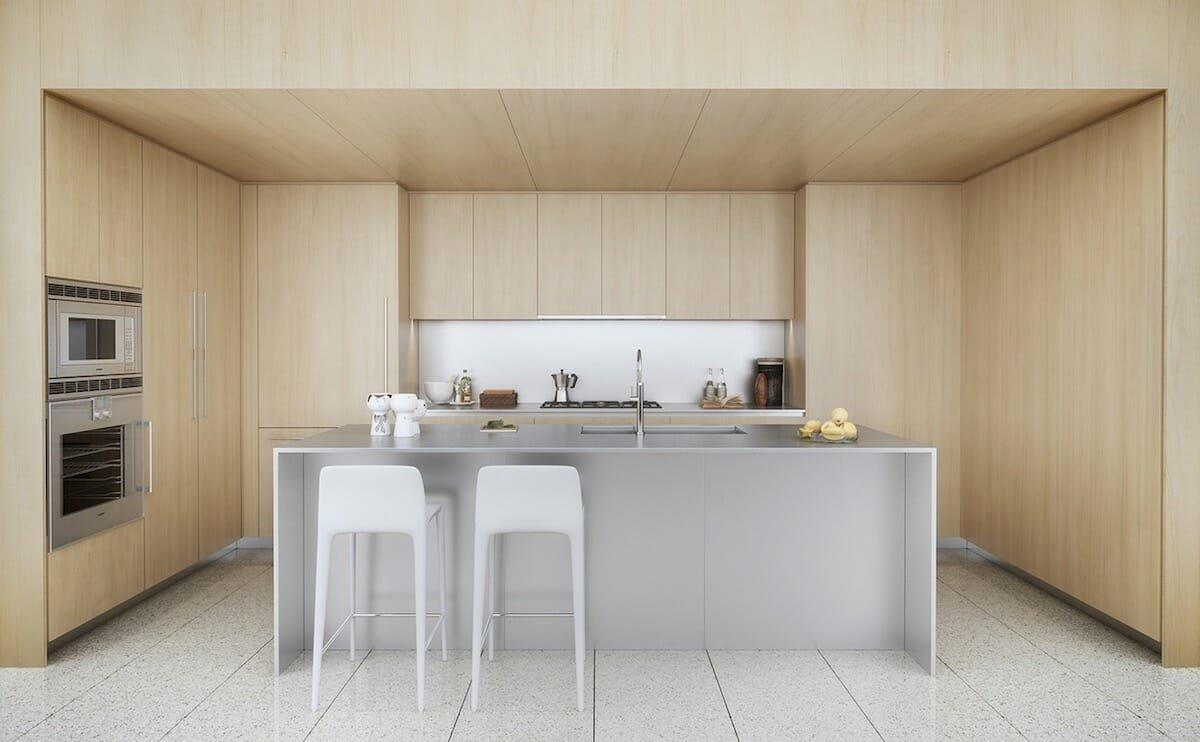 Sleek and modern light wood kitchen design trend 2021