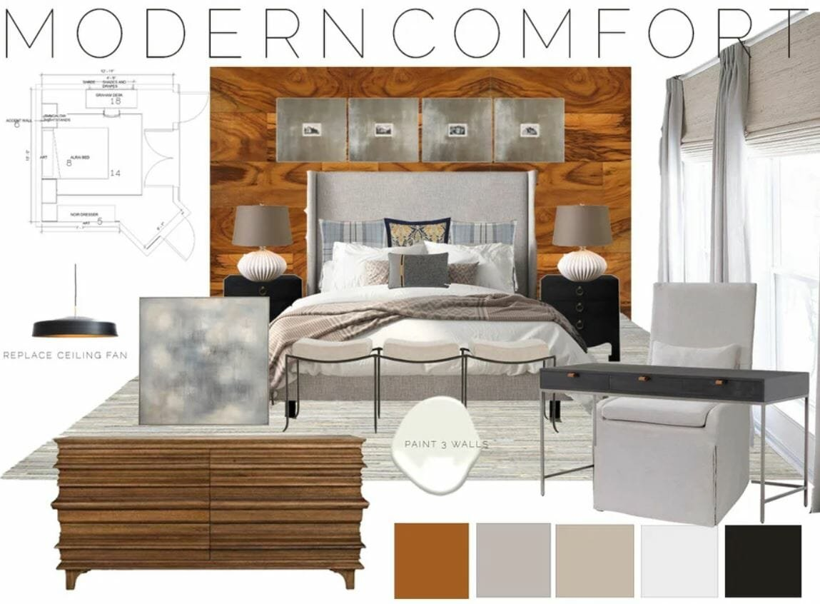 Small guest room makeover moodboard