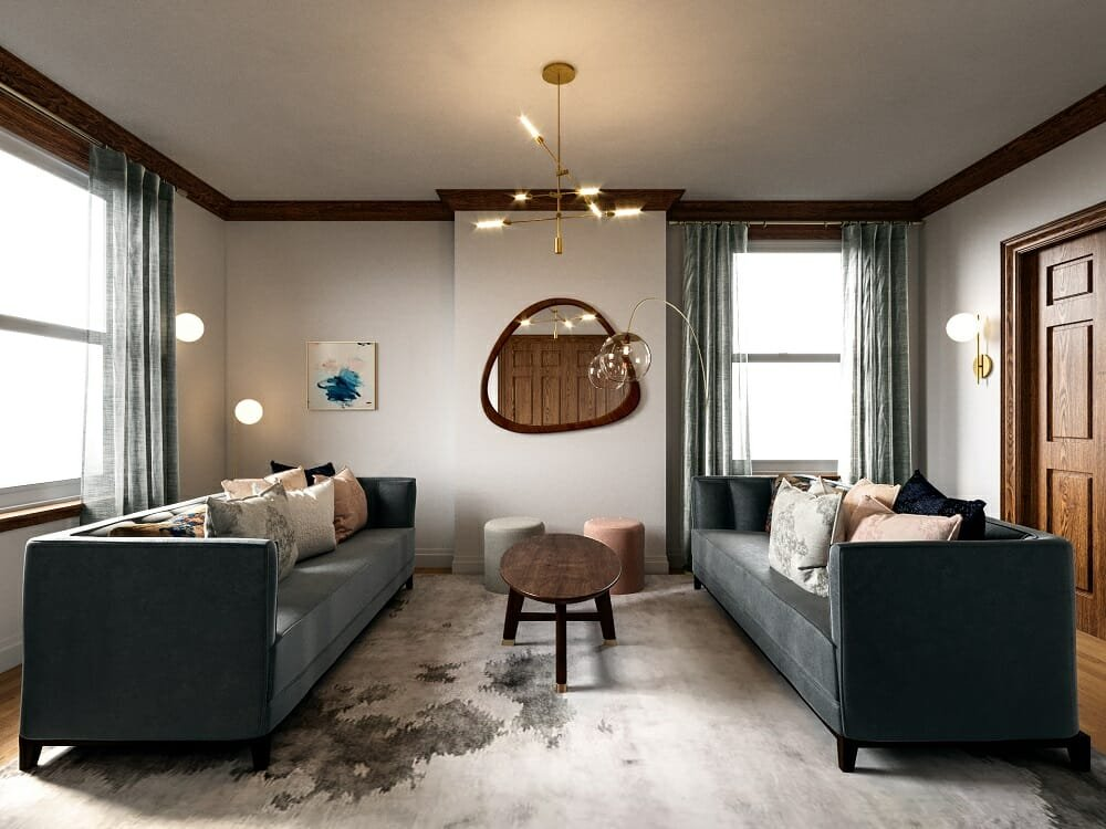 A large rug and modern furniture with exposed legs can help make a room look bigger