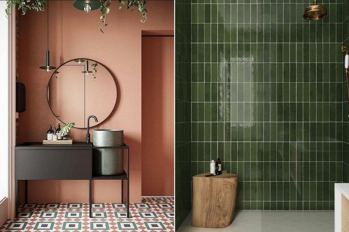 Bathroom color trends for 2021 green and terracotta