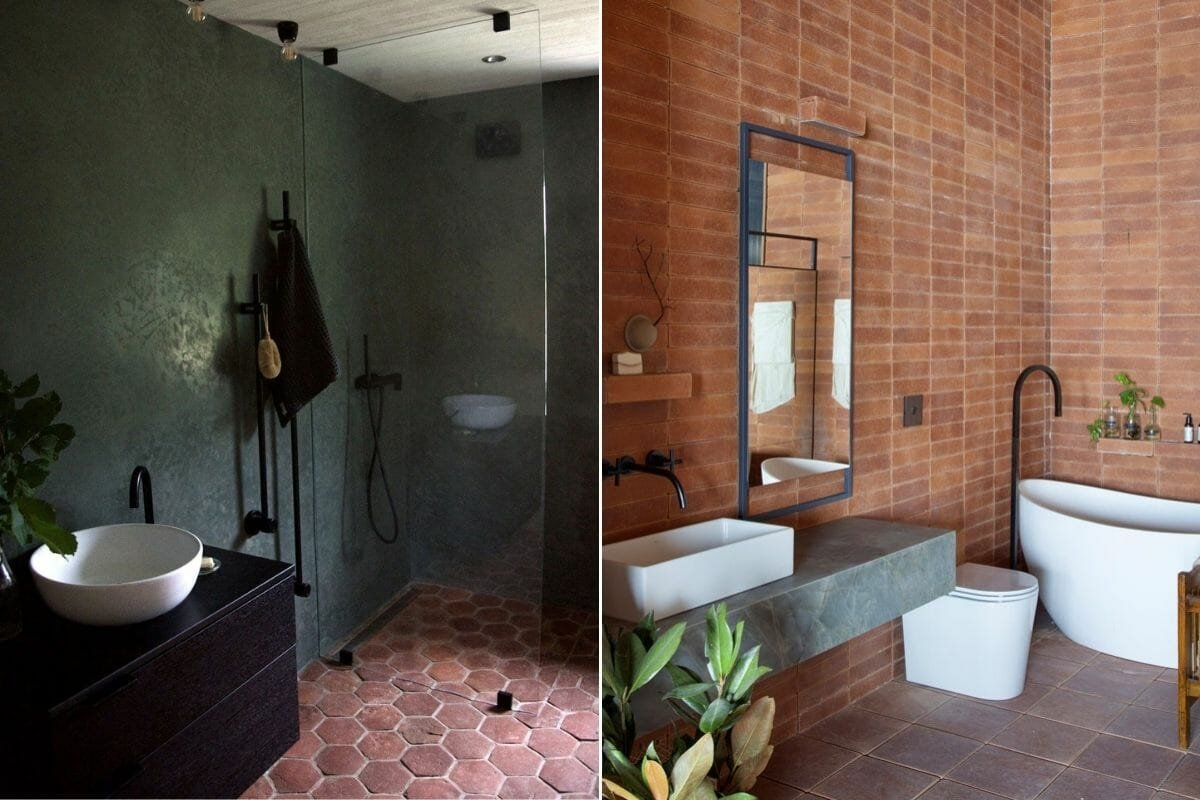 Bathroom trends with pastels and matte black