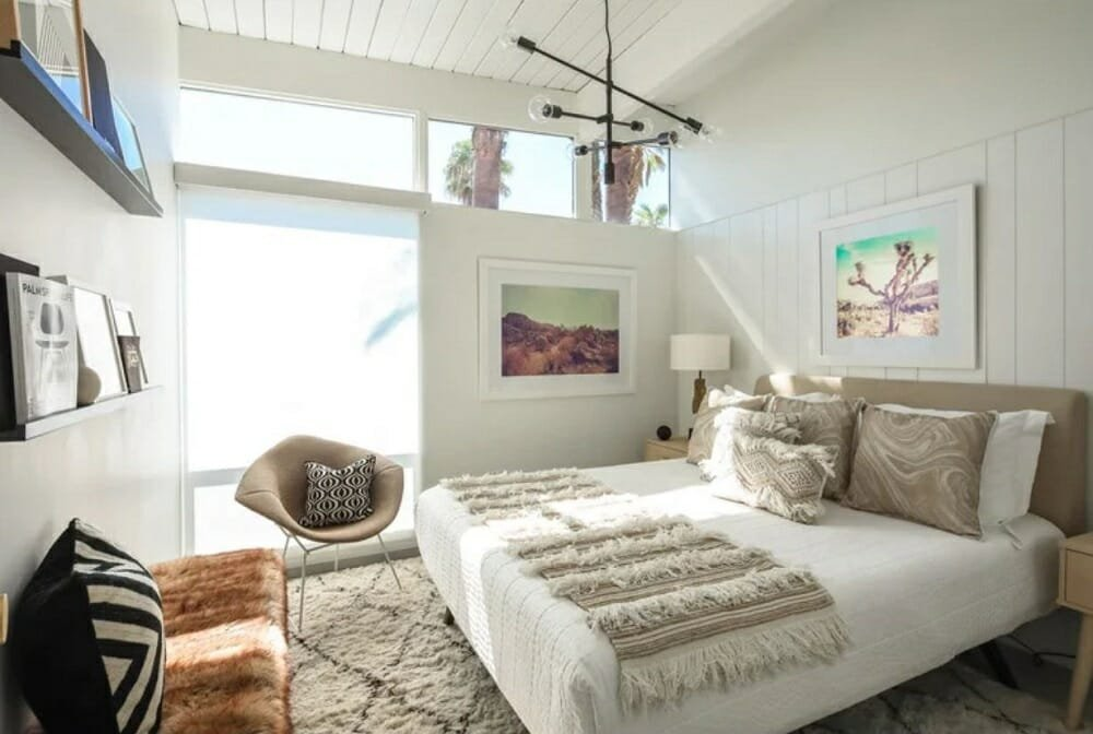 Bold décor can also help to make a small bedroom look bigger