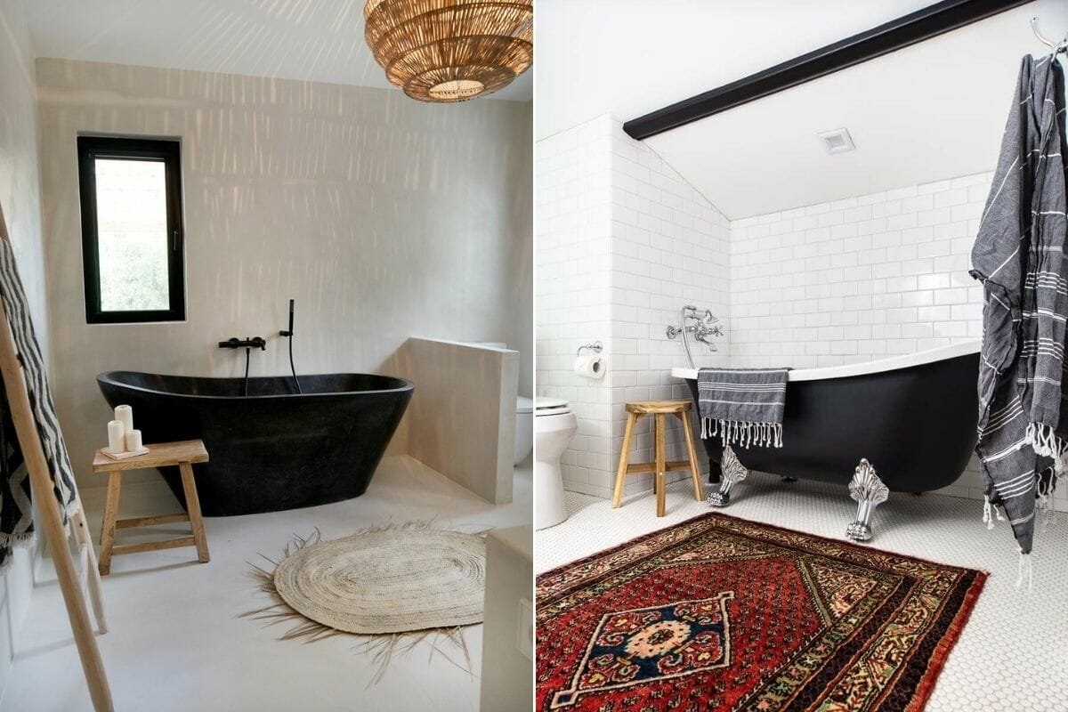 Clawfoot tub in matte black - one of the favorite bathroom color trends for 2021