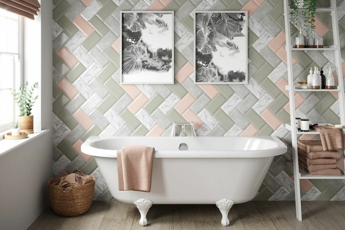 Colorful assortment of metro tiles in a feminine bathroom featuring bathroom tile trends 2021
