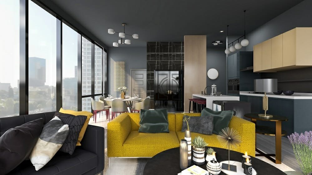 Contemporary open living, dining and kitchen in black and yellow by interior decorator Kassondra Leigh