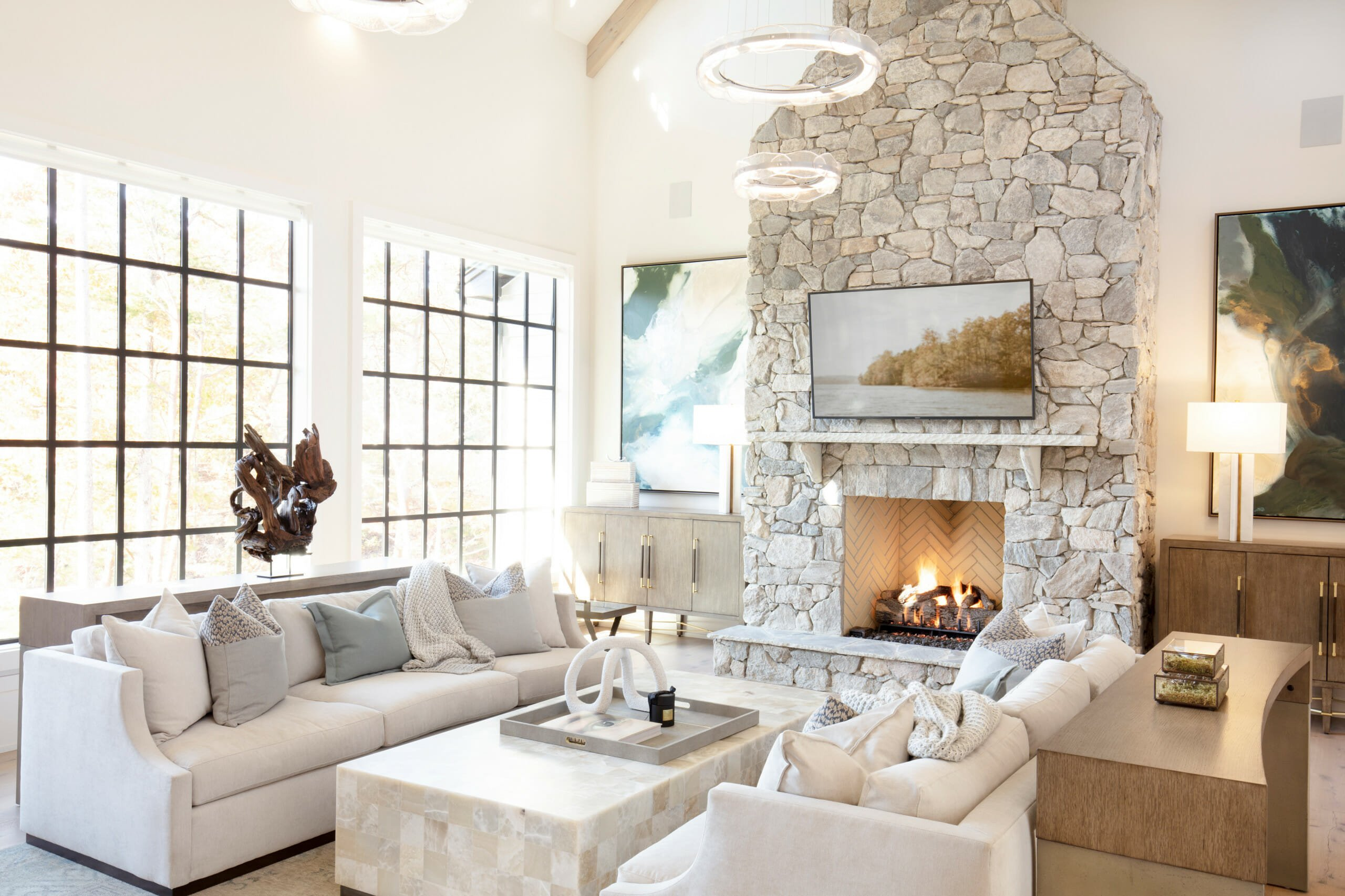 Floaitng seating for long living room layouts
