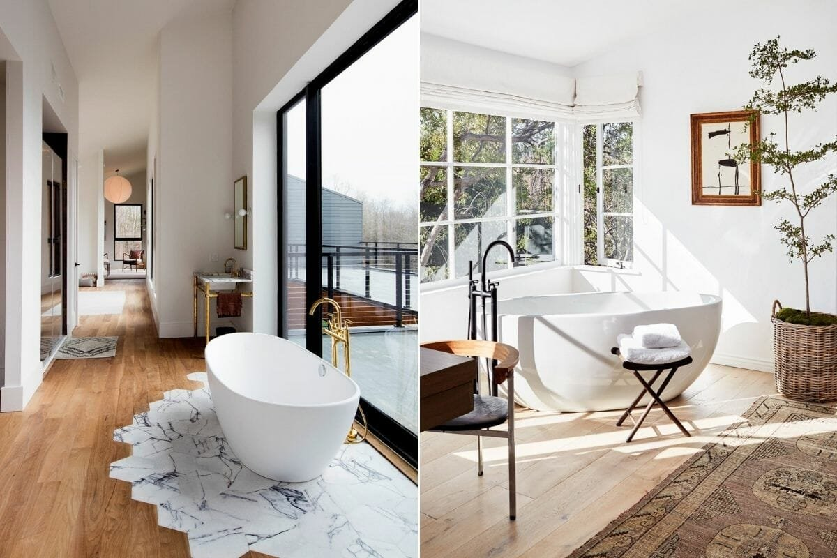 Freestanding tub in contemporary bedrooms