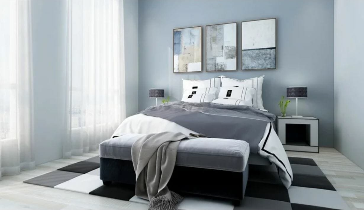 Grey bedroom by one of the top affordable Phoenix interior designers