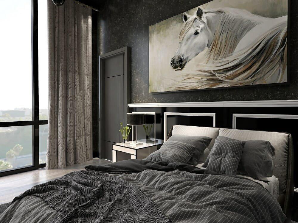 Grey transitional bedroom by omline interior designer Kassondra Leigh
