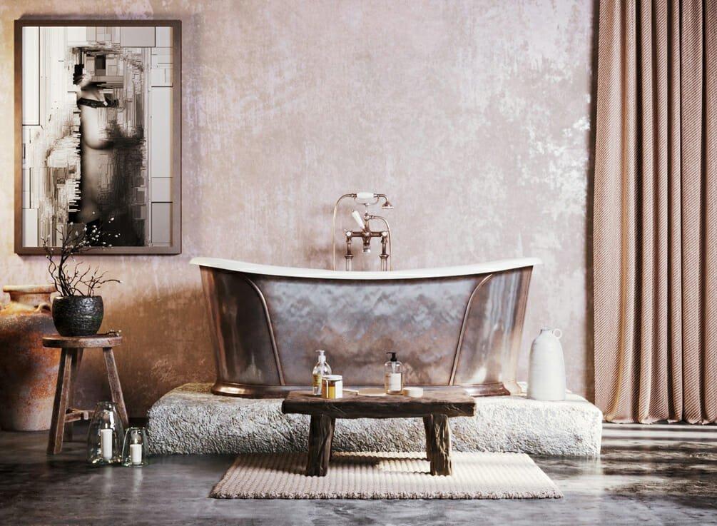 Luxury copper tub bathroom trend 2021