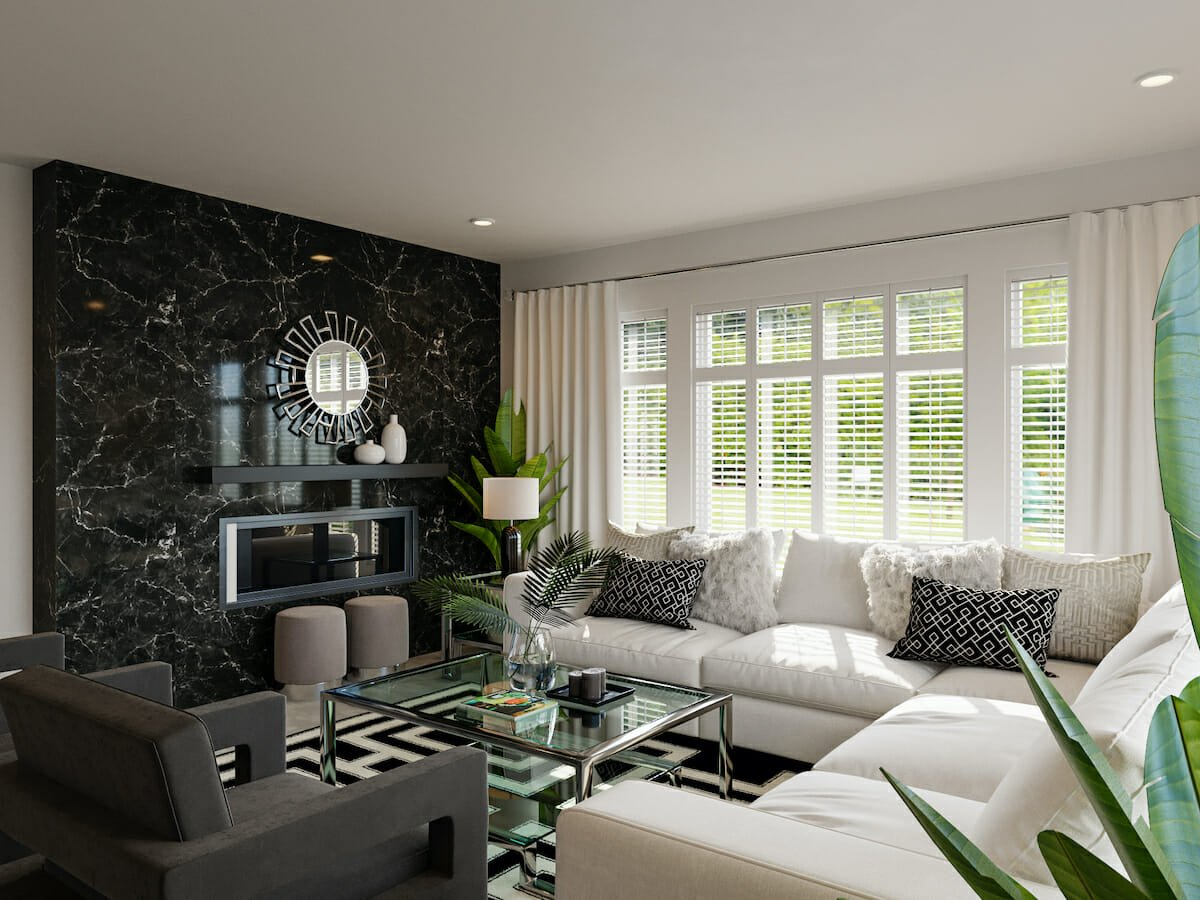 Marble accent wall as a trick on how to make a small living room look bigger