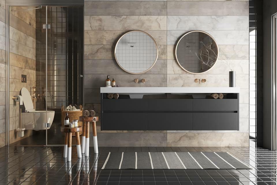 Matte black undersink cabinets as an emerging bathroom trend