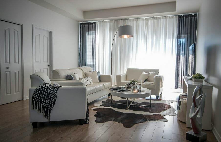 Modern living room layout by Decorilla designer