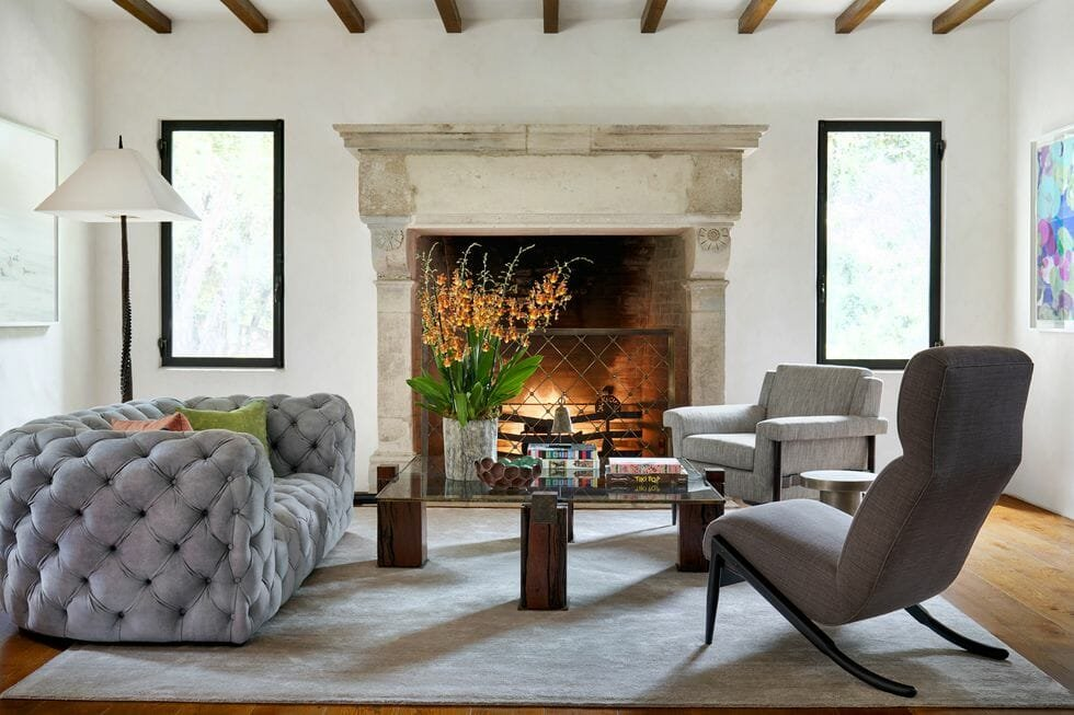 Modern living room layout with fireplace