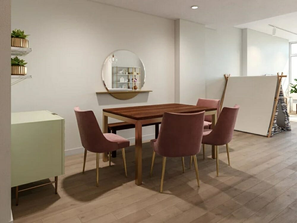 Modern open concept decorating ideas for a pink dining room